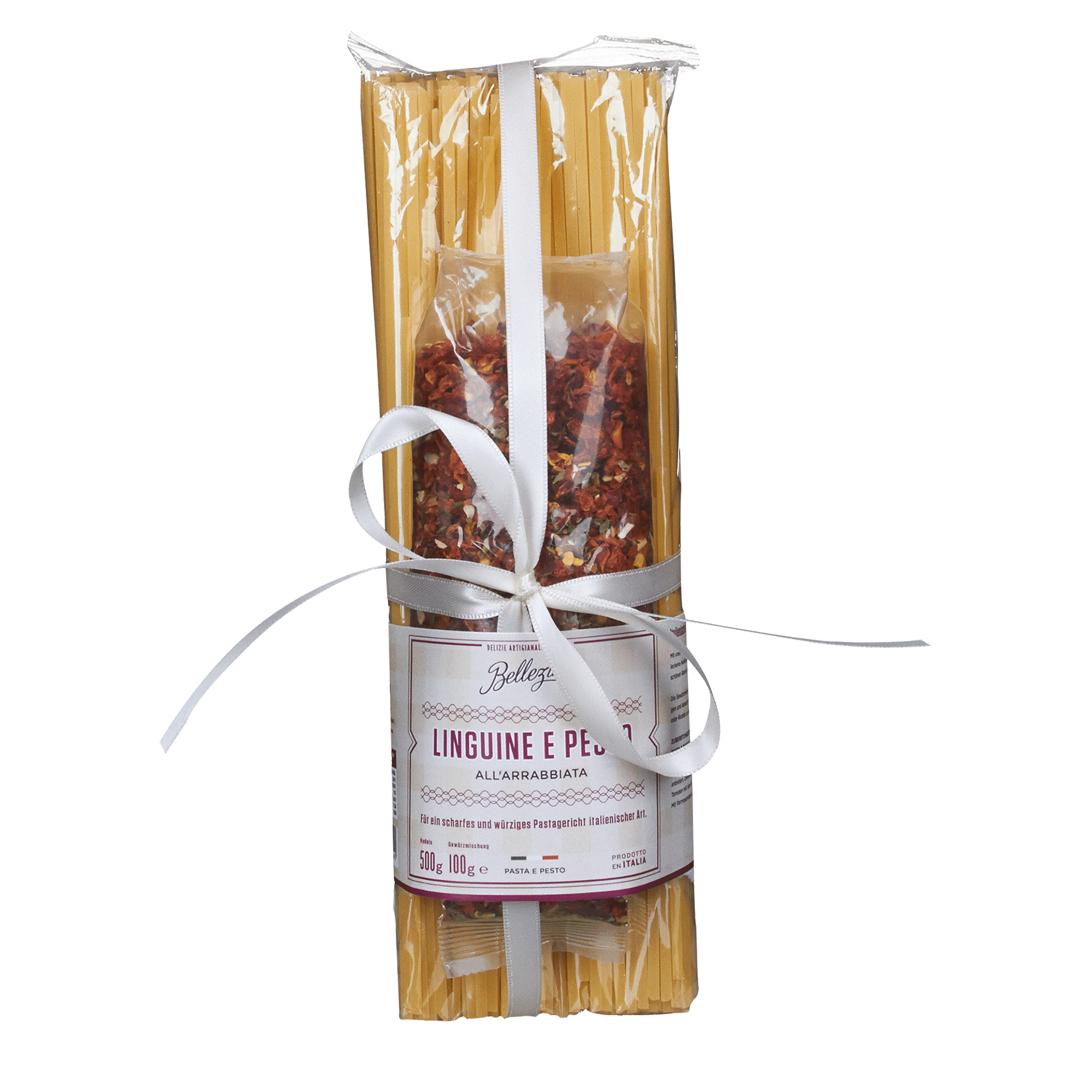 »Linguine e Pesto all' Arrabbiata« - Geschenkset mit Pasta & Gewürzmischung