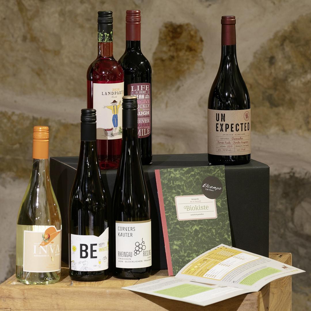 Weinprobe DIY »Biokiste« natürlich genießen