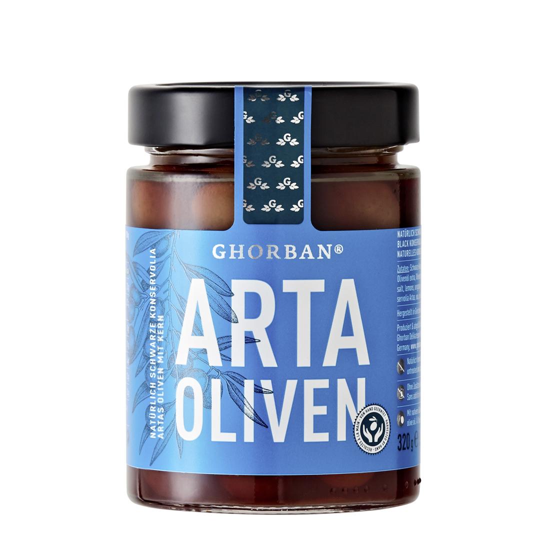 »Arta schwarze Konserviola Oliven« mit Kern